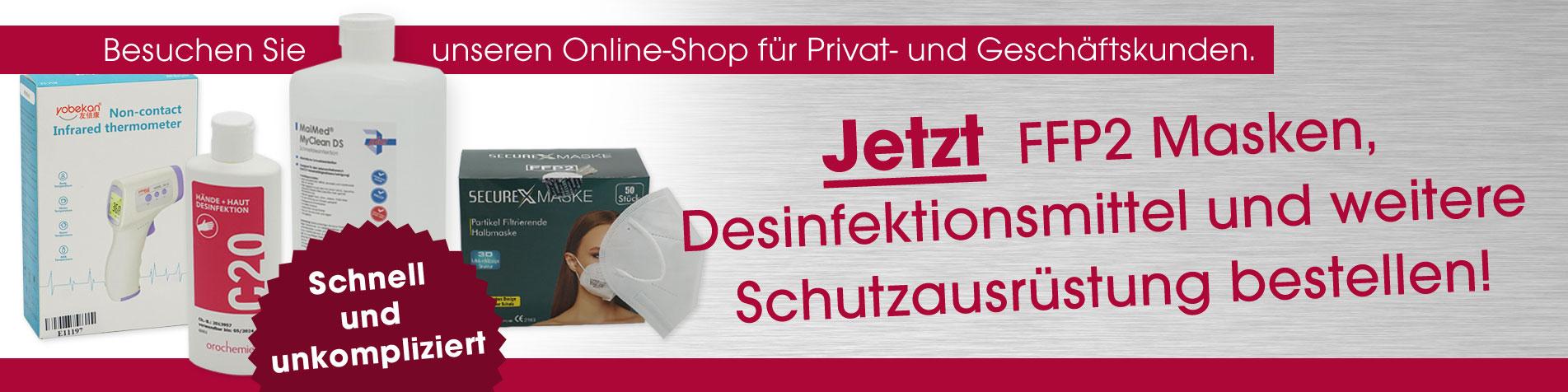 Online Shop für FFP2-Masken, Desinfektionsmittel und weitere Anti-Covid-Produkte